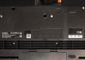カシオの電子ピアノ型番確認用ステッカー
